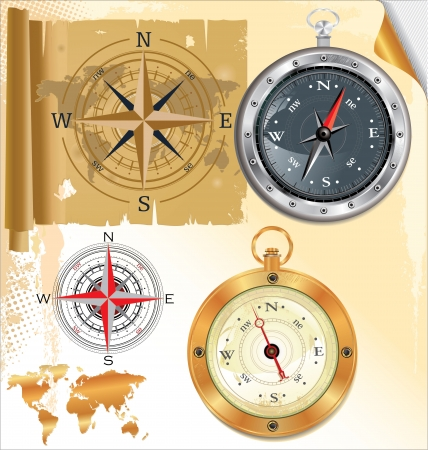 south pole: Compass rose and glossy compass, set
