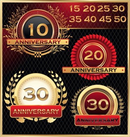 anniversary party: Anniversario etichette Golden Set Vettoriali