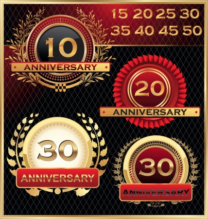 anniversary card: Anniversary golden labels set
