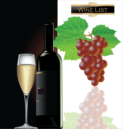 winy: Bottle and glass of white wine and grape