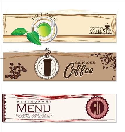 carta de postres: Cafe y la etiqueta restaurante Vectores