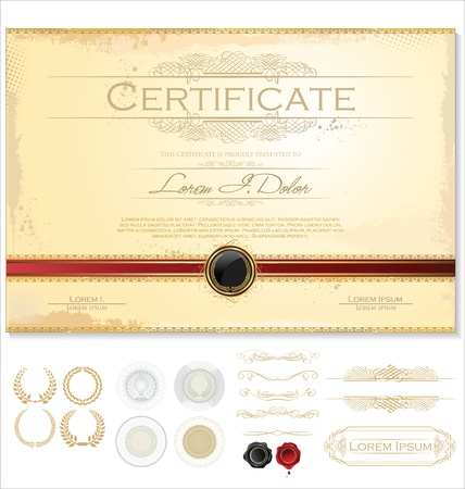 diploma border: Certificate template Illustration