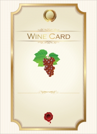 food and wine: Wine menu template with a price list
