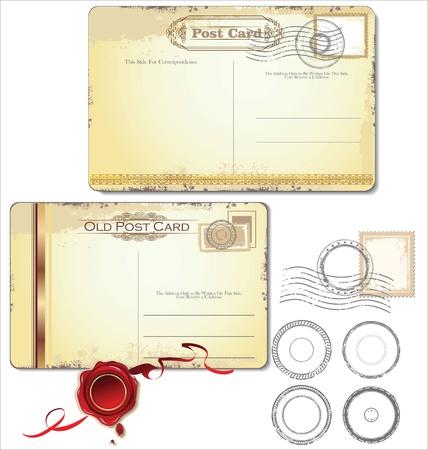 Carte postale de cru et de timbres-poste - pour la conception de mariage, invitation, f?licitation, scrapbooking Vecteurs