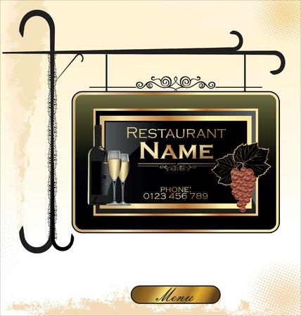ortseingangsschild: Restaurant Platte hängt an einem verzierten Träger