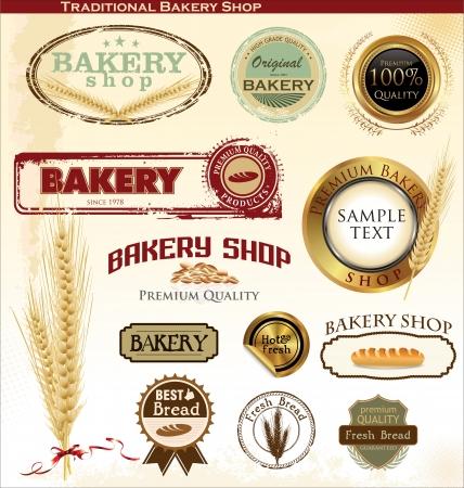 bread shop: Badge retr� da forno ed etichette Vettoriali