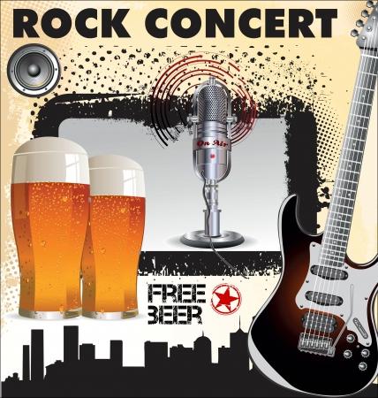 rock concert: Concierto de rock cerveza gratis Vectores
