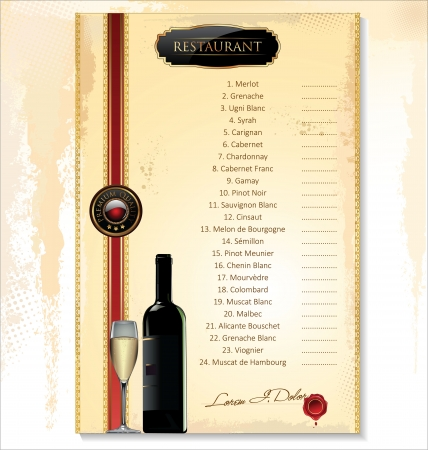 Wine Menu Template With A Price List Royalty Free Cliparts, Vectors ...
