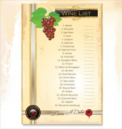 modèle de menu de vin avec une liste de prix