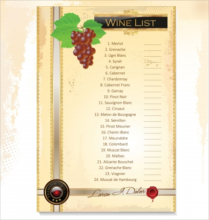 Wine menu template with a price list Vector