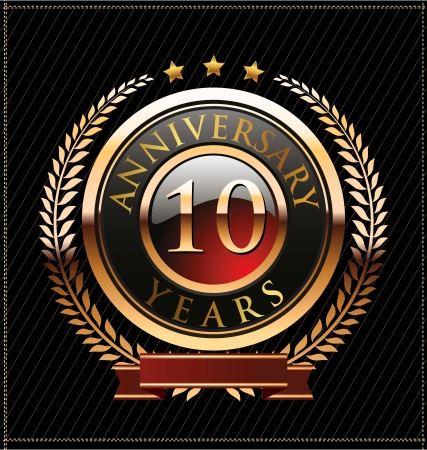 laurel leaf: 10 years anniversary golden label Illustration