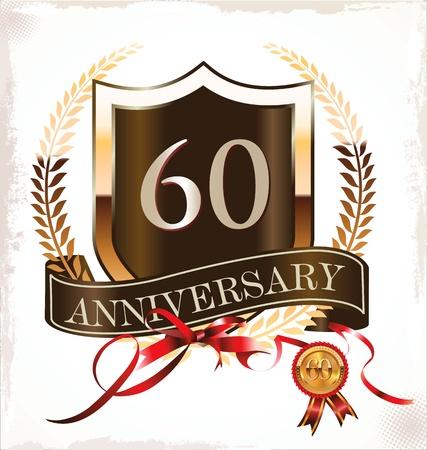 60 years anniversary golden label Stock Vector - 19466033