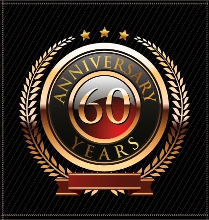 60 years anniversary golden label Stock Vector - 19463128