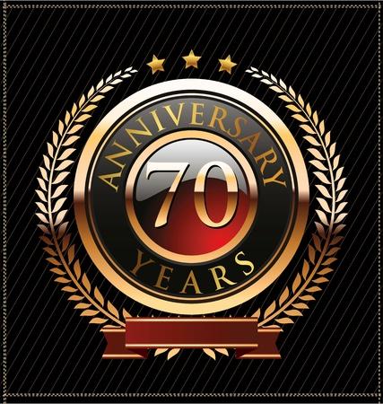 70 years anniversary golden label Stock Vector - 19463129