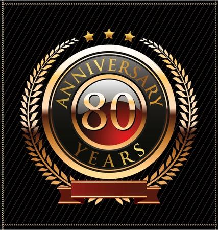 80 years anniversary golden label Stock Vector - 19463164