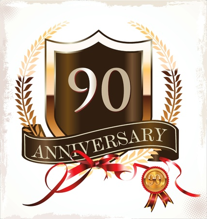 90 years anniversary golden label Stock Vector - 19466011