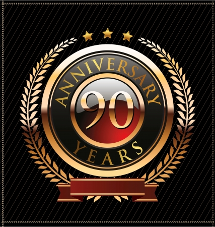90 years anniversary golden label Stock Vector - 19463132