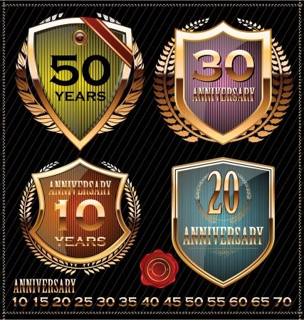 anniversary golden labels Stock Vector - 19466058