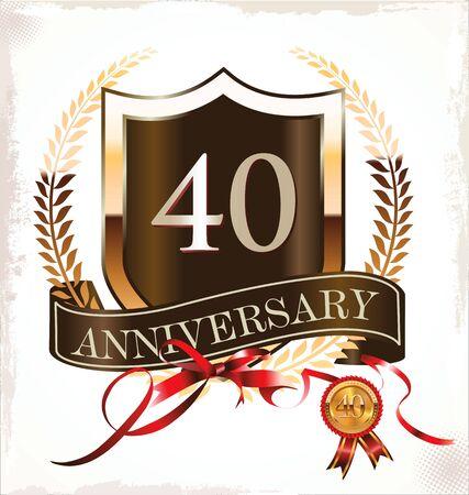 40 years anniversary golden label Stock Vector - 19465850