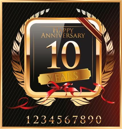 anniversary golden label Stock Vector - 19466037