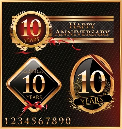 anniversary golden labels Stock Vector - 19466052