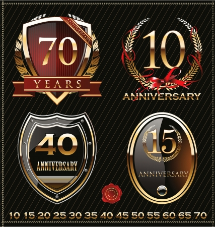 anniversary golden labels Stock Vector - 19466063