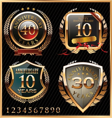 anniversary: anniversary golden labels Illustration