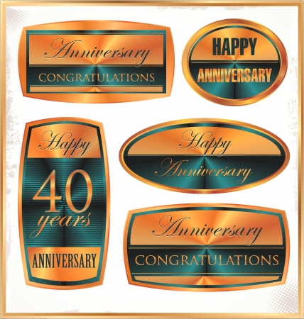 anniversary golden labels Stock Vector - 19466059