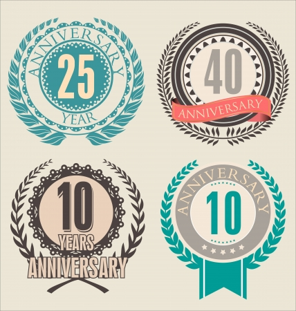 anniversary wreath: anniversary labels
