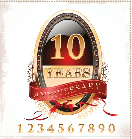 anniversary golden label Stock Vector - 19466048