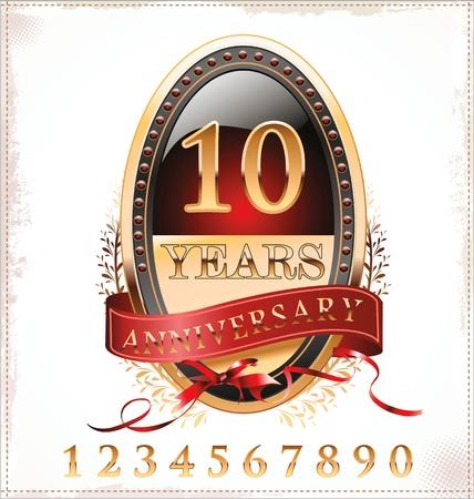 anniversary golden label Stock Vector - 19466048