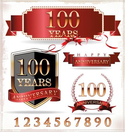 anniversary golden labels Stock Vector - 19466053