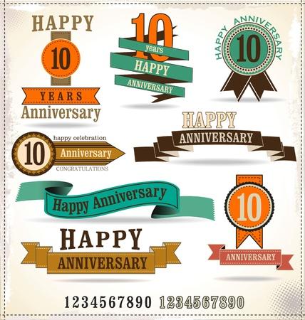 tenth birthday: Anniversary retro labels