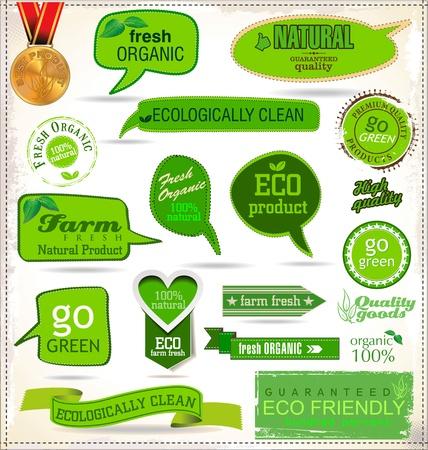 rzepa: Zestaw etykiet ekologicznych Ilustracja