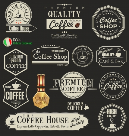barista: Set van vintage retro koffie badges en labels Stock Illustratie