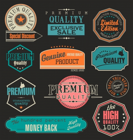 badge ribbon: Collection of Premium Quality and Guarantee Labels with retro vintage styled design