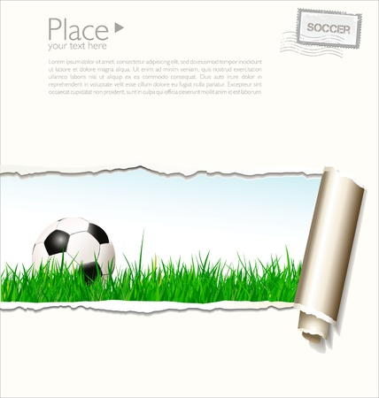 Soccer background with torn paper Vector