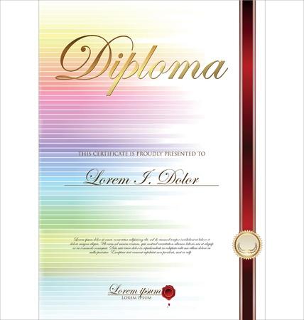 diplomas: Colorful Certificate template Illustration