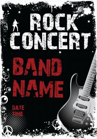 Concierto de rock grunge bandera Ilustración de vector