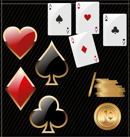 card suits: Set of shiny card suit icons and golden poker chips
