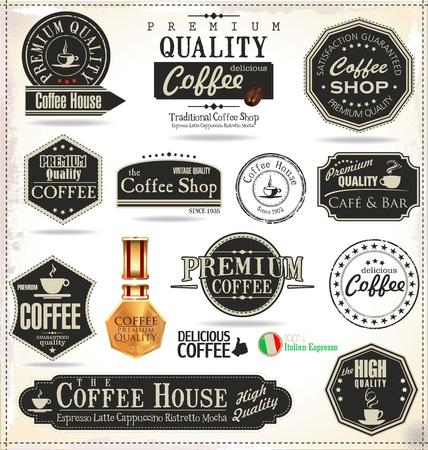 chicchi caff� su sfondo bianco: Set Di Etichette Vintage Retro Coffee Vettoriali