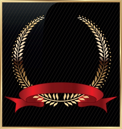 Golden laurel wreath with red ribbon Vector