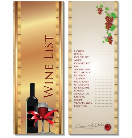 food and wine: Wine List Menu Card Illustration