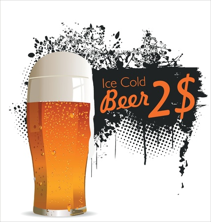draft beer: Ice Cold beer background Illustration
