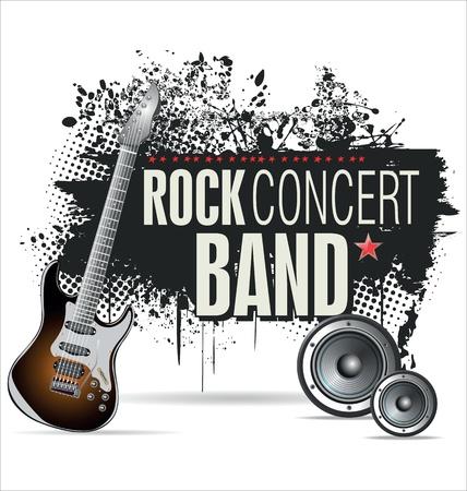 rock concert: Concierto de rock grunge bandera