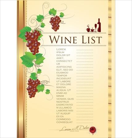 festival of the grape harvest: Wine List Menu Card Illustration