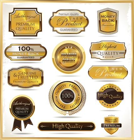 premium quality: Luxury golden labels Illustration