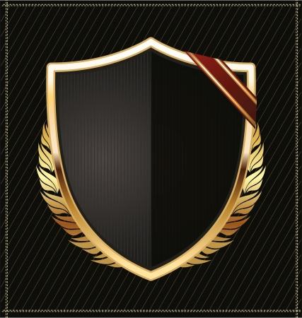 emblem red: Black and gold shield