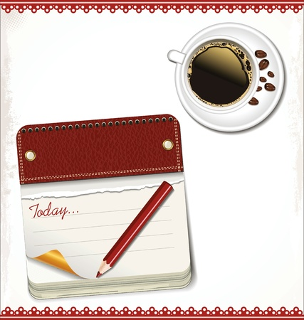 Calendar and cup of coffee Vector