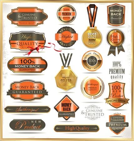 orden de compra: Etiquetas de oro de lujo Vectores